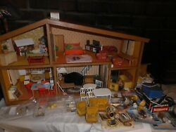Vintage Lundby Wooden Doll House W/all Accessories