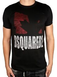 Dsquared Leaf T-shirts Men Collections All Sizestop Discount Now White/black
