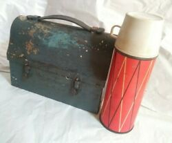 Antique 1920s Dome Shaped Metal Lunch Box With Worthall Thermos