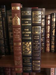 """Franklin Library """"dorian Gray"""" """"edwin Drood"""" """"ipcress Files"""" Mystery 3 Book Lot"""