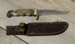 Vtg Schrade Walden Usa 410t Old Timer Fixed Blade Hunting Knife And Sheath