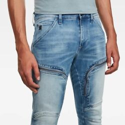 G-star Men's Air Defence Zip Skinny Jeans Sun Faded Azurite W34/l30 Nwt