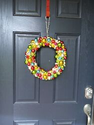 Vintage Bottle Brush Christmas Wreath With Ornaments
