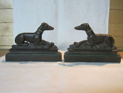 Antique Vintage Art Deco Cast Iron Greyhound Or Whippet Dog Bookends Doorstops