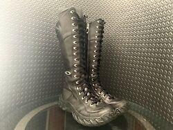 Womens Size 8 Black Leather Tall Assault Tactical Boots Rn96548 Rare