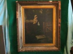Antique English Oil Painting Unsigned 21 X 27 Framed Lady Mourning