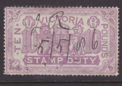 Victoria Rare 1885 £10 Pounds Lilac Qv Stamp Duty Used Sg 279 Cv400+ Lg140c