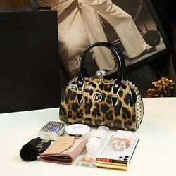 New Luxury Small Leopard Boston Messenger Bags for Women Leather Handbags Patent $100.00