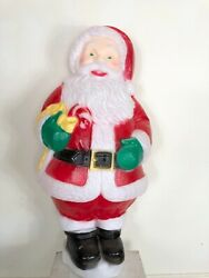 """Vintage Santa Claus Blow Mold Plastic Light Up With Candy Cane 30"""" Tall Lawn"""