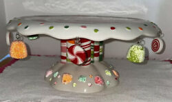 Rare Dept 56 Glitterville Gum Drop Cake Plate W/candy Swirl Top And Dangling Candy