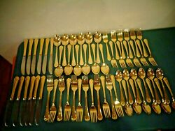 Hampton Silversmiths 235 Stainless Gold Flatware 60 Pc Service For 12 Set