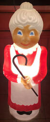 Vintage Blow Mold 41 Mrs Santa Claus Don Featherstone With Candy Cane Works