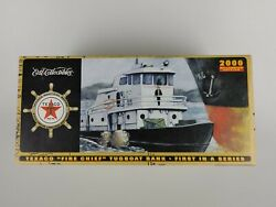 Texaco Fire Chief Diecast Tugboat Bank 2000 Millennium Edition Open Box Complete