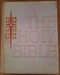 Vintage 1962 The Holy Bible Catholic Life Edition Leather Cover Large Format