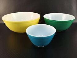Rare Pyrex Primary Colors Nesting Mixing Vintage Bowls 400