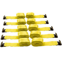 10x 4 X 30and039 Winch Straps W/ Flat Hook Flatbed Truck Trailer Tie Down Strap New