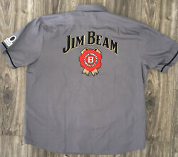 Jim Beam Gray Short Sleeve Distributor's/delivery/trucker Xl Shirt W Patches