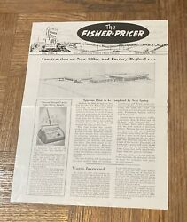 1950 Vintage Fisher Price Pull Toys Employee Fisher Pricer Brochure Ad Magazine