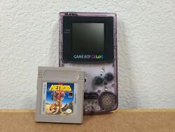 Nintendo Game Boy Color Console No Battery Cover Atomic Purple With Metroid Ii