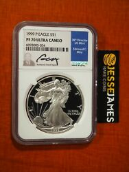 1999 P Proof Silver Eagle Ngc Pf70 Ultra Cameo Edmund Moy Hand Signed Blue Label