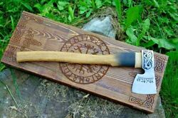 Axe With Norse Symbol Viking Style With Wooden Box, Valhalla Axe, Gift For Men