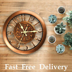 11 Inch Vintage Decorative Round Wall Clock Quartz Non Ticking Battery Operated