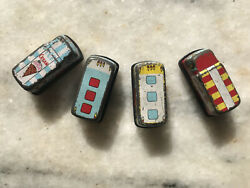 4 Cute Little Vintage Toy Buses/trucks Hong Kong About 2 Tin And Plastic