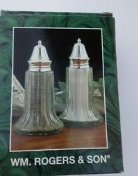 Wm Rogers And Sons Silver Plated Salt And Pepper Shakers Nib