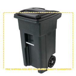 Toter Greenstone Trash Can 32 Gal Wheels Attached Lid Home Outdoor Garbage Cart