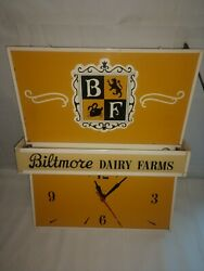 Vintage Biltmore Dairy Farms Clock And Light Wall Mount Or Ceiling Hang 2