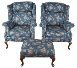 2 Vintage Queen Anne Mahogany Wingback Library Club Arm Chairs And Ottoman