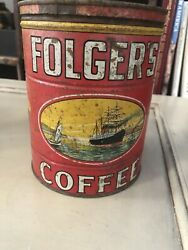 Vintage Folgers Coffee Tin Can 2 Lbs Golden Gate