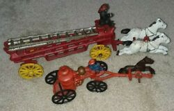 Vintage Cast Iron Toy 2 Piece Horse Drawn Pumper And Ladder Fire Truck