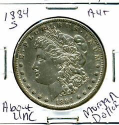 1884 S Au Morgan Dollar 100 Cent About Uncirculated 90 Silver Us 1 Coin 3086