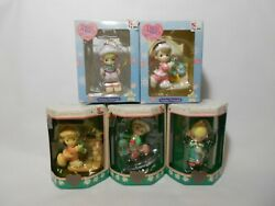 Vintage 90s Lot Of 5 Precious Moments Christmas Tree Ornaments