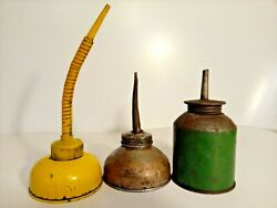 Antique Vintage 3 Oil Cans Squirt Thumb Pump Oilers Dispensers, Usa