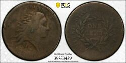 1793 Flowing Hair Wreath Cent Pcgs Vg Large Cent Lettered Edge Item 26371b