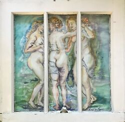 The Three Graces Original Watercolor Painting Framed Vintage Window 19x20