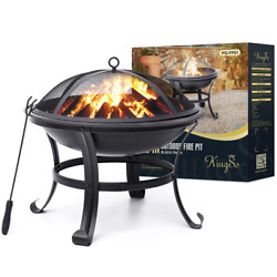 Kingso Fire Pit22and039and039 Fire Pits Outdoor Wood Burning Steel Bbq Grill Firepit Bowl