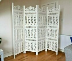 Handcrafted 4 Panel Wooden Room Partition And Room Divider Wooden Screen White