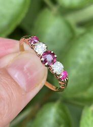 18ct Gold Ruby And Old Cut Multi Stone Diamond Ring Victorian Size U 2.8g