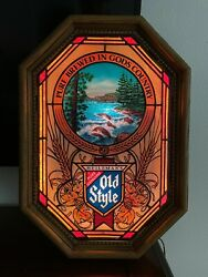 🔥 Vintage Old Style Stained Glass Heileman Motion Light Up Beer Sign