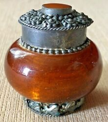Antique 2 Amber Glass And Pewter Powder Perfume Jar W/lid