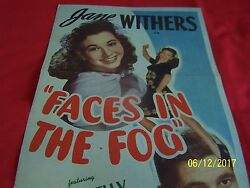Faces In The Fog Orig. 1944 Insert Movie Poster - Signed Jane Withers