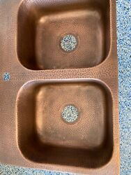 """Copper Drop-in Handmade 32"""" X 22 Hole 50/50 Double Bowl Kitchen Sink In Hammered"""