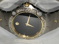 Mens Movado Sports Edition Two Tone Stainless Steel Diamond Watch