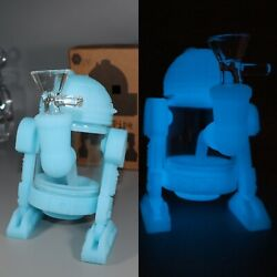 Star Wars Collectible Glow In The Dark R2ds Silicone Tobacco Smoking Bong Pipe