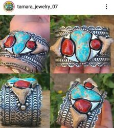 Sterling Silver Turquoise And Coral And Shark Men's Cuff Bracelet Signedghassan🥰