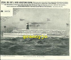 Original 1890s The Plymouth Steamship Print With Newspaper Advertising Coupon