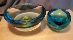 Vintage Mid-century Very Heavy Collectible Color Art Depression Glass Bowl Blue